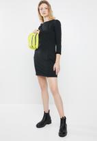 STYLE REPUBLIC - Shift fleece dress - black