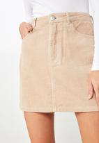 Cotton On - Woven havana cord mini skirt  - brown