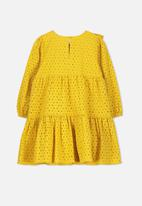 Cotton On - Grace long sleeve dress - yellow