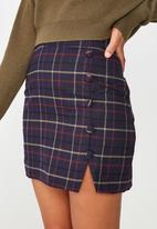 Cotton On - Woven evie button mini skirt  - navy