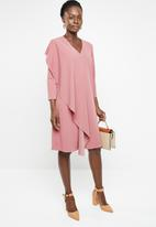 edit - 3/4 Dress with front frill - pink