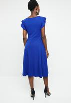 edit - Frill detail fit and flare dress - blue
