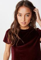 Cotton On - Violet velvet short sleeve tee  - burgundy
