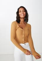Cotton On - Quinnie cropped cardigan  - brown
