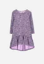 Cotton On - Joss leopard print long sleeve dress - purple
