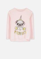 Cotton On - Penelope pugicorn long sleeve tee - pink