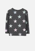 Cotton On - Stevie long sleeve embellished stars tee - charcoal & silver