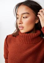 Cotton On - Liza slouch neck cropped pullover  - rust
