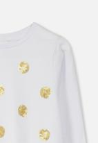 Cotton On - Stevie long sleeve embellished spots tee - white & gold