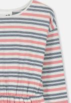 Cotton On - Mara long sleeve dress - grey & pink