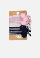 Cotton On - Knot messy silver glitter hairties - multi