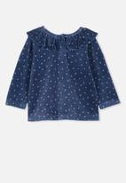 Cotton On - Alice velour ruffle neck top - blue