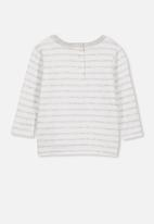Cotton On - Long sleeve boxy tee - white & grey