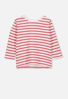 Cotton On - Long sleeve boxy tee - red & white