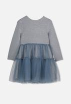 Cotton On - Long sleeve tulle dress - grey & blue