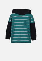Cotton On - Nate hooded long sleeve top - turquoise & black