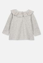 Cotton On - Velour ruffle neck top - grey
