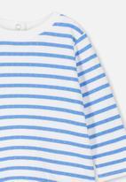Cotton On - Deacon long sleeve boxy tee  - blue & white