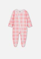 Cotton On - Mini zip through romper - pink & white