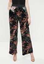 ONLY - Alex wide printed velvet pants - black