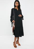 edit Maternity - Tiered peasant dress - black