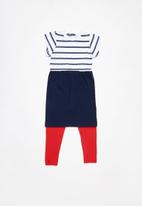 Superbalist - Smock knit dress with leggings - navy & red