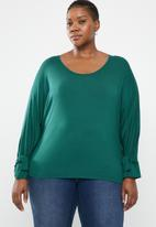STYLE REPUBLIC PLUS - Sleeve tie top - green