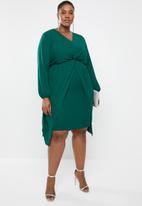 edit Plus - Drape detail smart dress - green
