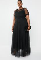AMANDA LAIRD CHERRY - Plus size phateka sheer maxi dress - black