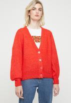 Vero Moda - Dalo long sleeve V-neck cardigan - red