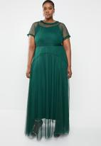 AMANDA LAIRD CHERRY - Plus size phateka sheer maxi dress - green