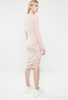 Superbalist - Draw-cord bodycon dress - pink