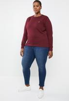 POLO - Plus size Lexie long sleeve jersey - burgundy