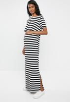 edit Maternity - Overlay maxi dress - white & black