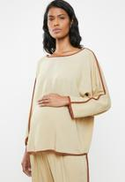 edit Maternity - Contrast binding shell blouse - brown