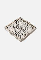 Typo - Novelty trinket tray - white & black polka
