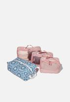 Typo - 4pc Luggage packing cells - pink multi