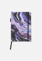 Typo - A5 open seam notebook - purple marble