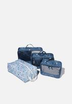 Typo - 4pc Luggage packing cells - blue multi