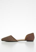 Cotton On - Woven cut out point ballerina - brown