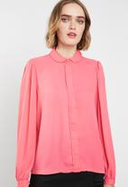 ONLY - Martha long sleeve round collar shirt - pink