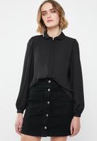 ONLY - Martha long sleeve round collar shirt - black