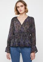 Vero Moda - Olana chiffon long sleeve top - black & purple