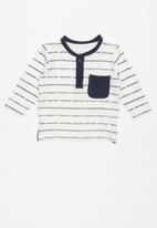 name it - Faril long sleeve top -  navy & white