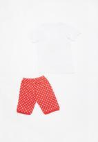 POP CANDY - Short Sleeve Printed Pj Set - red & white