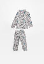 POP CANDY - Skulls full flannel pyjama top & bottom - grey