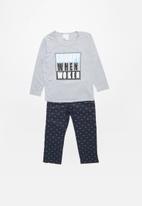 POP CANDY - Single jersey flannel pyjama top & bottom bolts - grey & navy