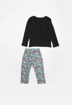 POP CANDY - Single jersey flannel pyjama top & bottom dino - grey & black