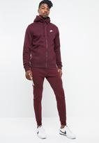 Nike - M nsw club hoodie fz bb - burgundy & white