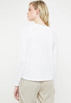 MANGO - Organic cotton long sleeve T-shirt - white